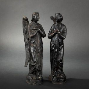 Expertissim - paire d'anges en fonte à patine noire - Sculpture