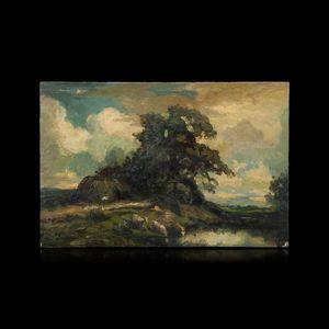 Expertissim - ecole francaise du xxe siecle. vaches s'abreuvan - Landscape Painting