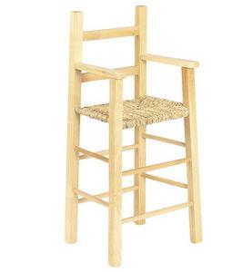 Aubry-Gaspard - chaise haute pour enfant en hêtre et roseau - Baby High Chair