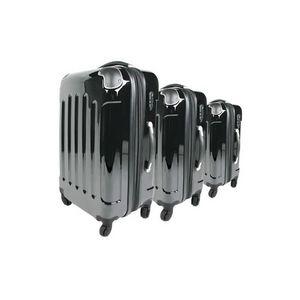 WHITE LABEL - lot de 3 valises bagage noir - Suitcase With Wheels