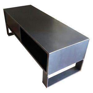 Mathi Design - meuble tv steel 120 cm acier brut - Media Unit