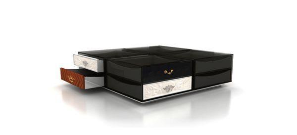 BOCA DO LOBO - Coffee table with drawers-BOCA DO LOBO-Soho