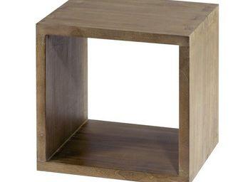 MEUBLES ZAGO - cube 1 niche teck grisé cosmos - Beistelltisch