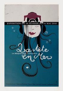 Dezzig - affiche sérigraphie tête en mer - Plakat