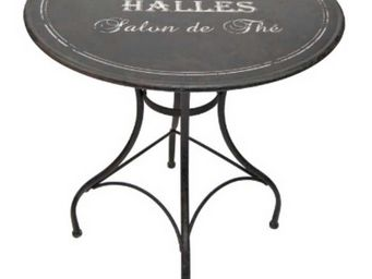 Antic Line Creations - table ronde en métal bistro des halles 76x72cm - Gartentisch