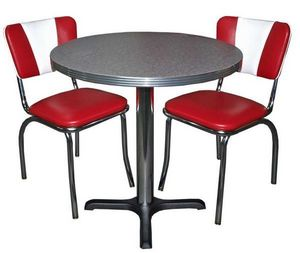 US Connection - set diner : 2 chaises vintage et table boomerang - Essecke