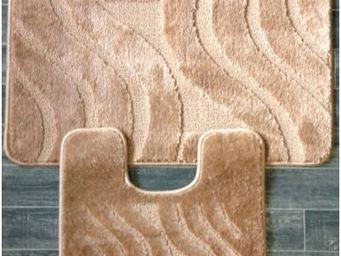 ILIAS - tapis salle de bain et toilette ligne brun - Badematte