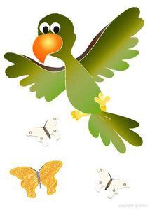 BABY SPHERE - sticker perroquet et papillons 30x42cm - Kinderklebdekor