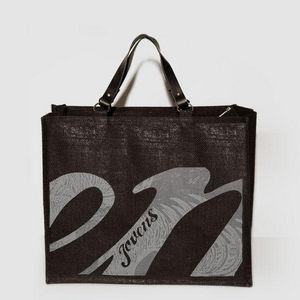 JOVENS - cabas en jute et cuir jovens black - Handtasche