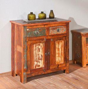 WHITE LABEL - buffet bas design farol en bois de manguier recycl - Anrichte