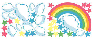 Wallies - stickers chambre bébé arc en ciel - Kinderklebdekor