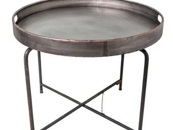 Antic Line Creations - table plateau rond en fer taille 2 - Beistelltisch