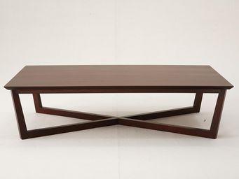 WHITE LABEL - table basse rectangulaire bois gris rosario - gris - Rechteckiger Couchtisch