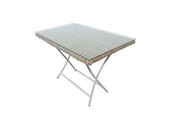 City Green - table de jardin pliante rectangulaire en kubu born - Gartenklapptisch