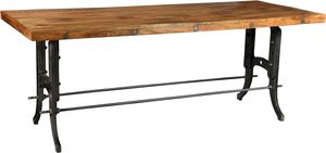 Antic Line Creations - grande table de ferme métal et bois - Rechteckiger Esstisch