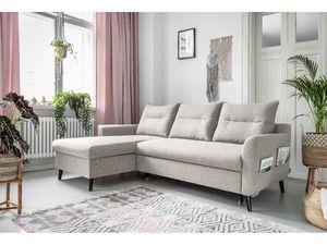 BOBOCHIC - canapé d'angle convertible coffre lacanau beige angle gauche - Andere Sofas