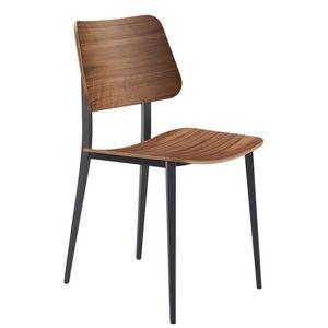 Midj - joe s m lg - chaise métal et noyer (lot de 2) - Stuhl