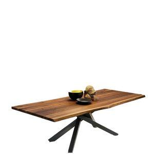 Midj - pechino - table plateau noyer coupe organique 200 - Rechteckiger Esstisch
