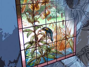 Atelier 1..2..3 vitrail - martin pêcheur et lys - Buntglasfenster