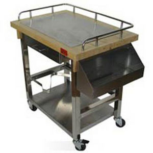 SPECI - chariot plancha inox et bois - Grill Plate