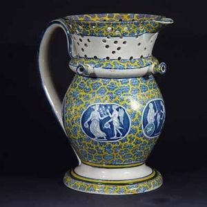 EARLE D VANDEKAR OF KNIGHTSBRIDGE - a striking printed polychrome pearlware neo-classi - Karaffe