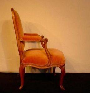 Baron Antiquités - fauteuil à dossier plat louis xv - Sessel à La Reine Stil
