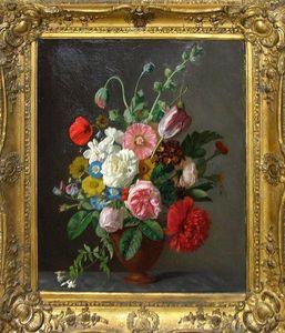 ARADER GALLERIES - nature morte, bouquet de fleurs - Ölgemelde Auf Leinwand Und Holztafel