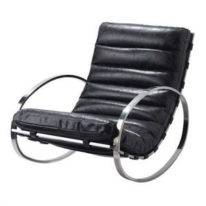 MAISONS DU MONDE - fauteuil à bascule cuir noir freud - Schaukelstuhl
