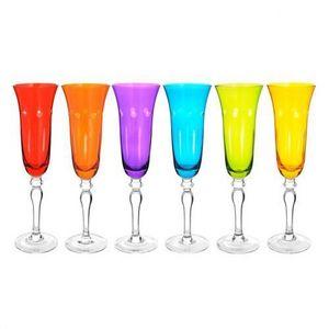 Maisons du monde - coffret 6 flûtes taillé couleur - Champagnerkelch