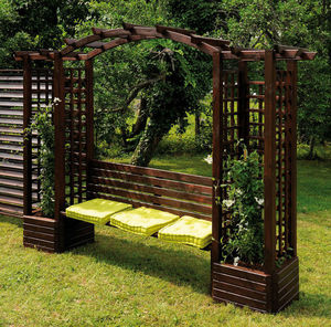 JARDIPOLYS - pergola en pin avec banc et jardinières 320x233x60 - Bank Mit Dach