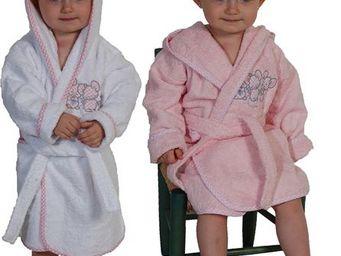 SIRETEX - SENSEI - peignoir enfant brodé 3 souris roses - Kinderbademantel