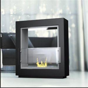 WHITE LABEL - chemine mirror fire blanc laque au bio-ethanol po - Kamin Ohne Rauchabzug
