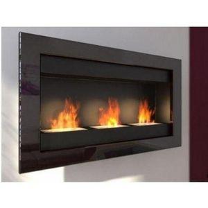 WHITE LABEL - chemine bio thanol 3 fire noire laque - Kamin Ohne Rauchabzug