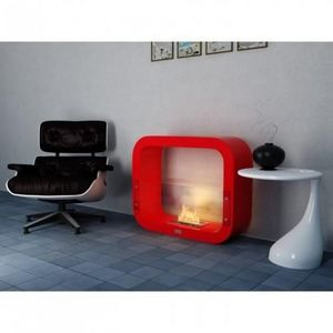 WHITE LABEL - chemine thanol cosy rouge laque - Kamin Ohne Rauchabzug