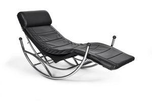 KOKOON DESIGN - fauteuil rocking-chair design en similicuir noir 1 - Ruhesessel