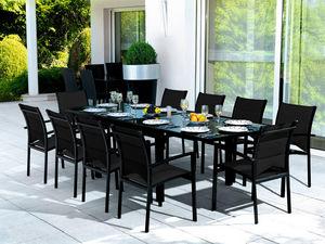 WILSA GARDEN - salon de jardin modulo noir 10 personnes en alumin - Garten Esszimmer