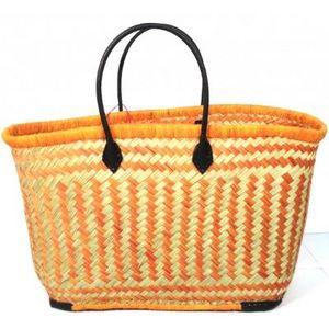 Aubry-Gaspard - cabas en jonc et cuir orange - Einkaufstasche