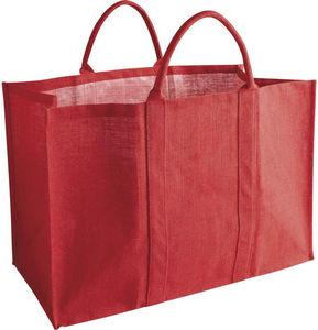 Aubry-Gaspard - sac à bûches en jute naturelle rouge 60x30x40cm - Kaminholzträger