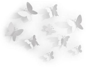 Umbra - décor mural adhésif 9 papillons blancs - Wanddekoration