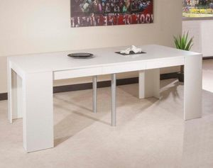 WHITE LABEL - console elasto blanc mat, extensible en table repa - Erweiterbare Konsole