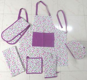 ITI  - Indian Textile Innovation - small flowers - d.pink - Küchenschürze