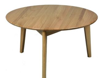 WHITE LABEL - table basse en bois - mobler - diamètre 80 x h 45 - Runder Couchtisch