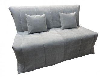 WHITE LABEL - canapé bz convertible flo gris clair 160*200cm mat - Schlafsofa