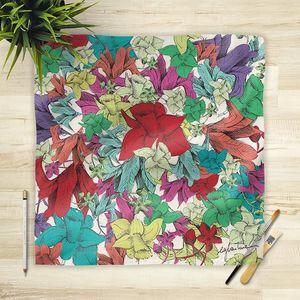 la Magie dans l'Image - foulard fleurs - Vierecktuch
