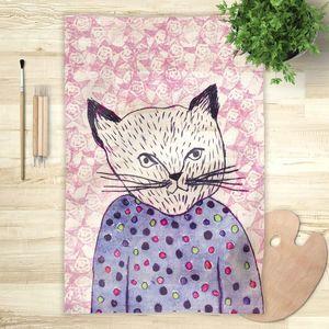 la Magie dans l'Image - foulard mon petit chat fond rose - Vierecktuch