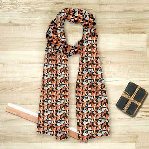 la Magie dans l'Image - foulard puzzle orange - Vierecktuch