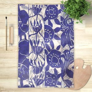 la Magie dans l'Image - foulard végétal bleu blanc - Vierecktuch