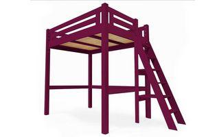 ABC MEUBLES - abc meubles - lit mezzanine alpage bois + échelle hauteur réglable prune 160x200 - Andere Verschiedene Schlafzimmermöbel