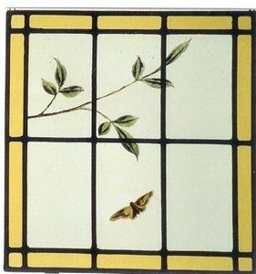 L'Antiquaire du Vitrail - papillon et feuiilage - Buntglasfenster