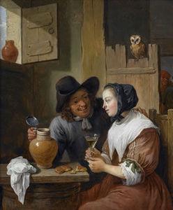 Florence de Voldere - scène galante dans une taverne avec autoportrait par david teniers le jeune - Ölgemelde Auf Leinwand Und Holztafel